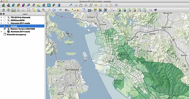 A view of Alameda census info over Stamen's terrain map.